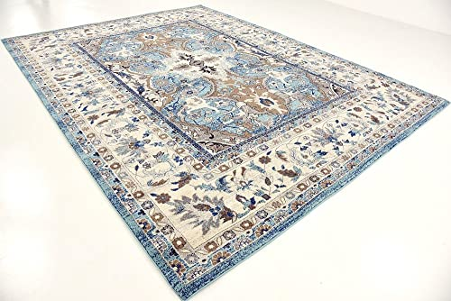 Unique Loom Tradition Collection Classic Southwestern Light Blue Area Rug 9 0 x 12 0