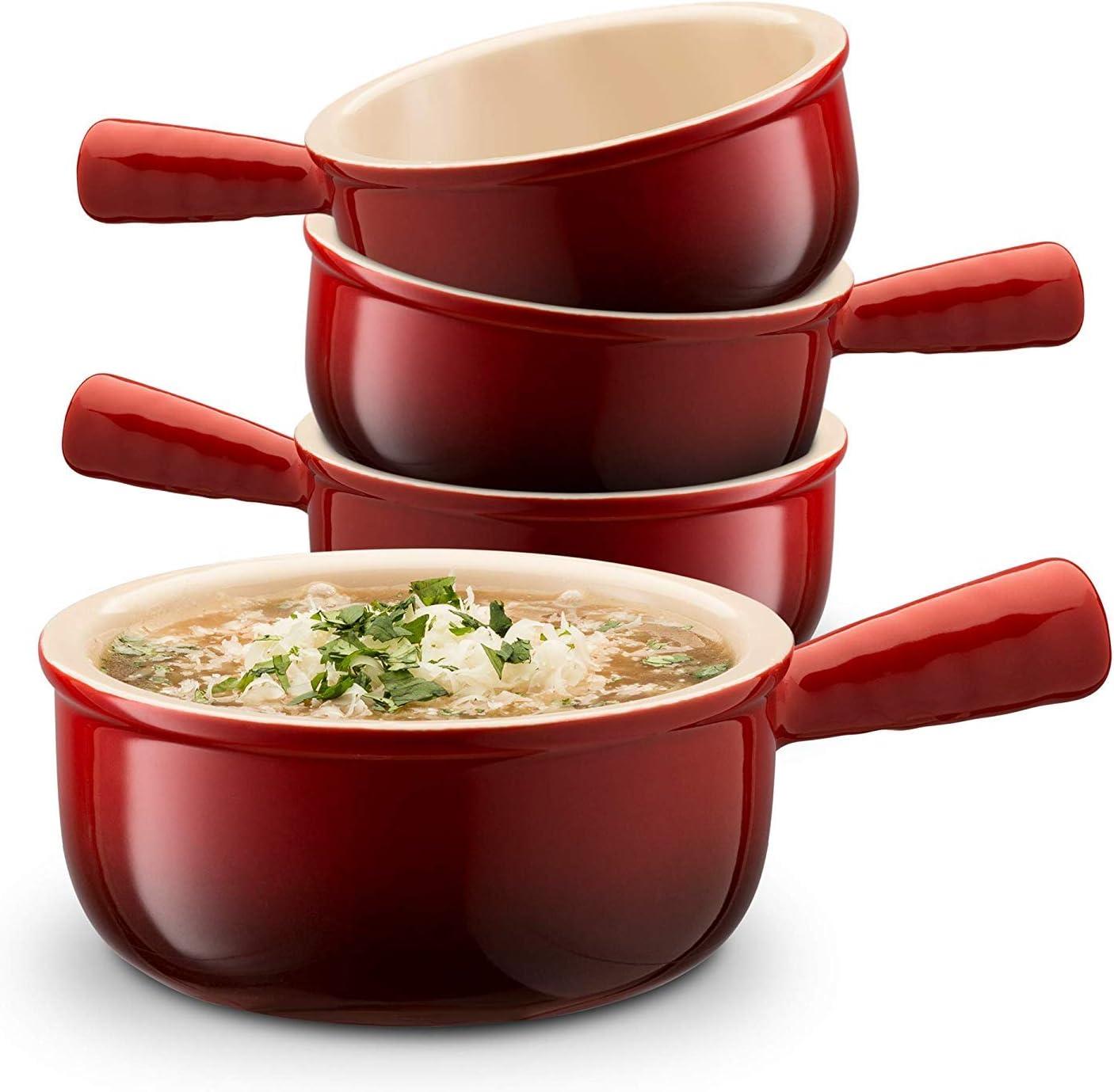 Bols /à soupe en c/éramique avec oignons fran/çais Lot de 4 12 onces avec poign/ées