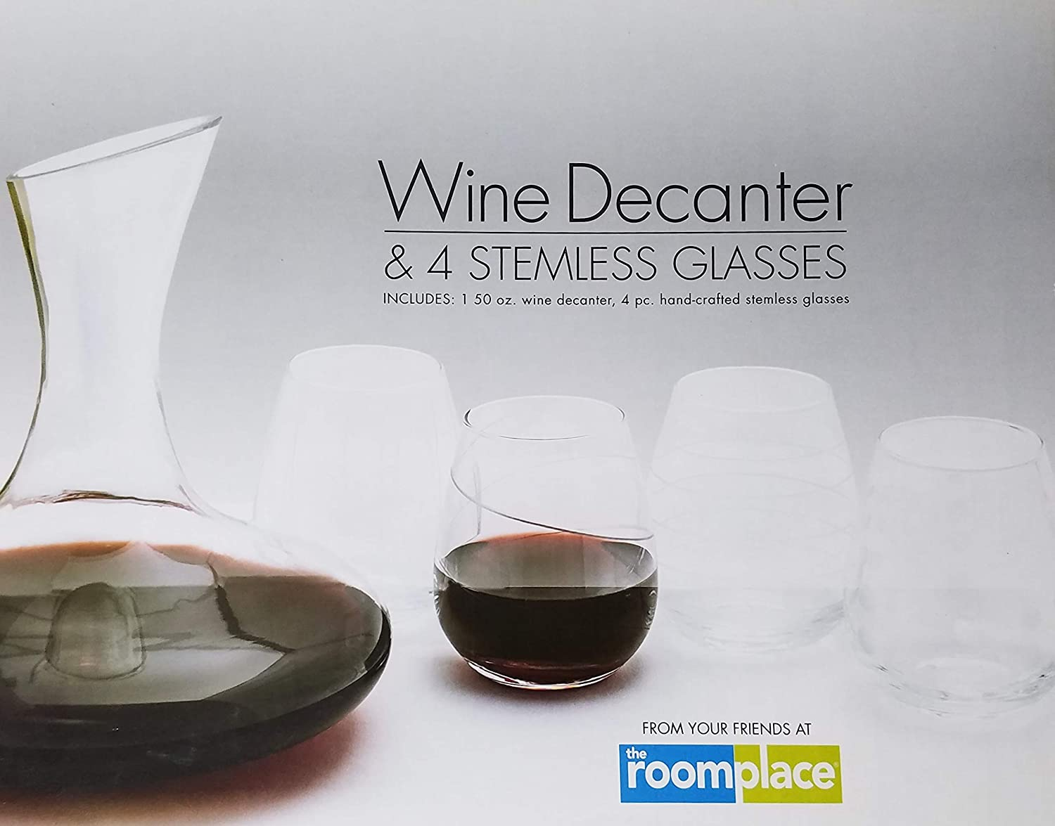 Wine Decanter & 4 Creatively Designed Stemless Wine Glasses From Your Friends at the RoomPlace
