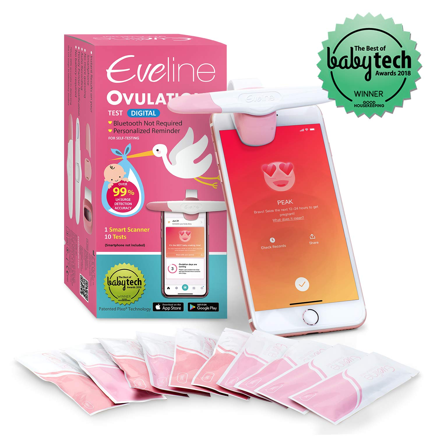 Smart Ovulation Predictor Kit with Digital Fertility Monitor App for The Modern Woman - FDA Listed for 99% Accuracy, Comes with 10 OPK Test Strips by IXENSOR