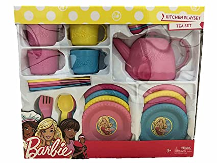 Amazon Com Barbie Kitchen Playset Tea Set Toys Games
