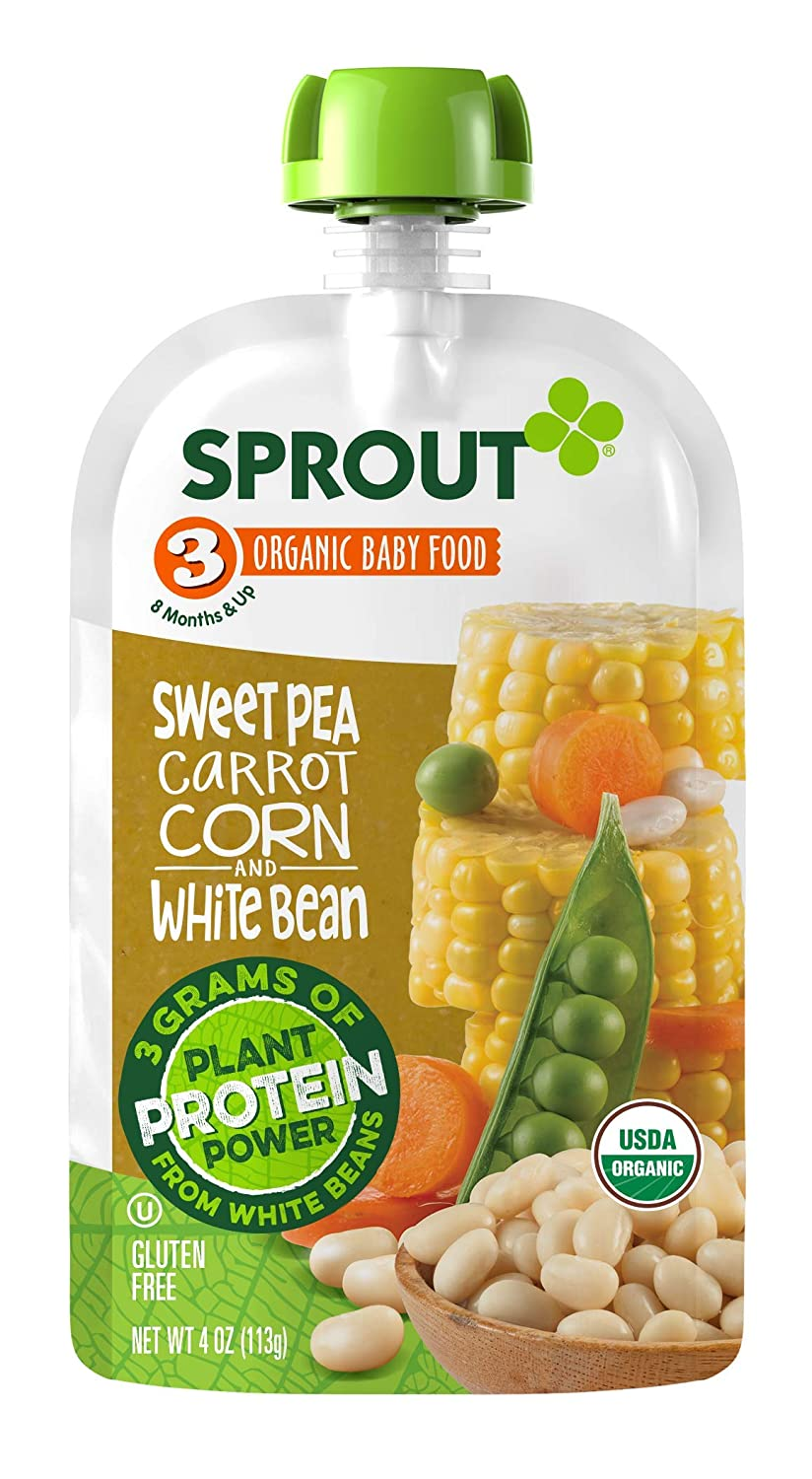 Sprout Organic Stage 3 Baby Food Pouches with Plant Powered Protein, Sweet Pea Carrot Corn & White Bean, 4 Ounce (Pack of 6)