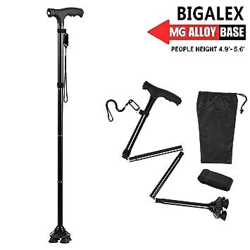 BigAlex Folding Walking Cane with LED Light,Pivoting Quad Base,Adjustable Walking Stick with