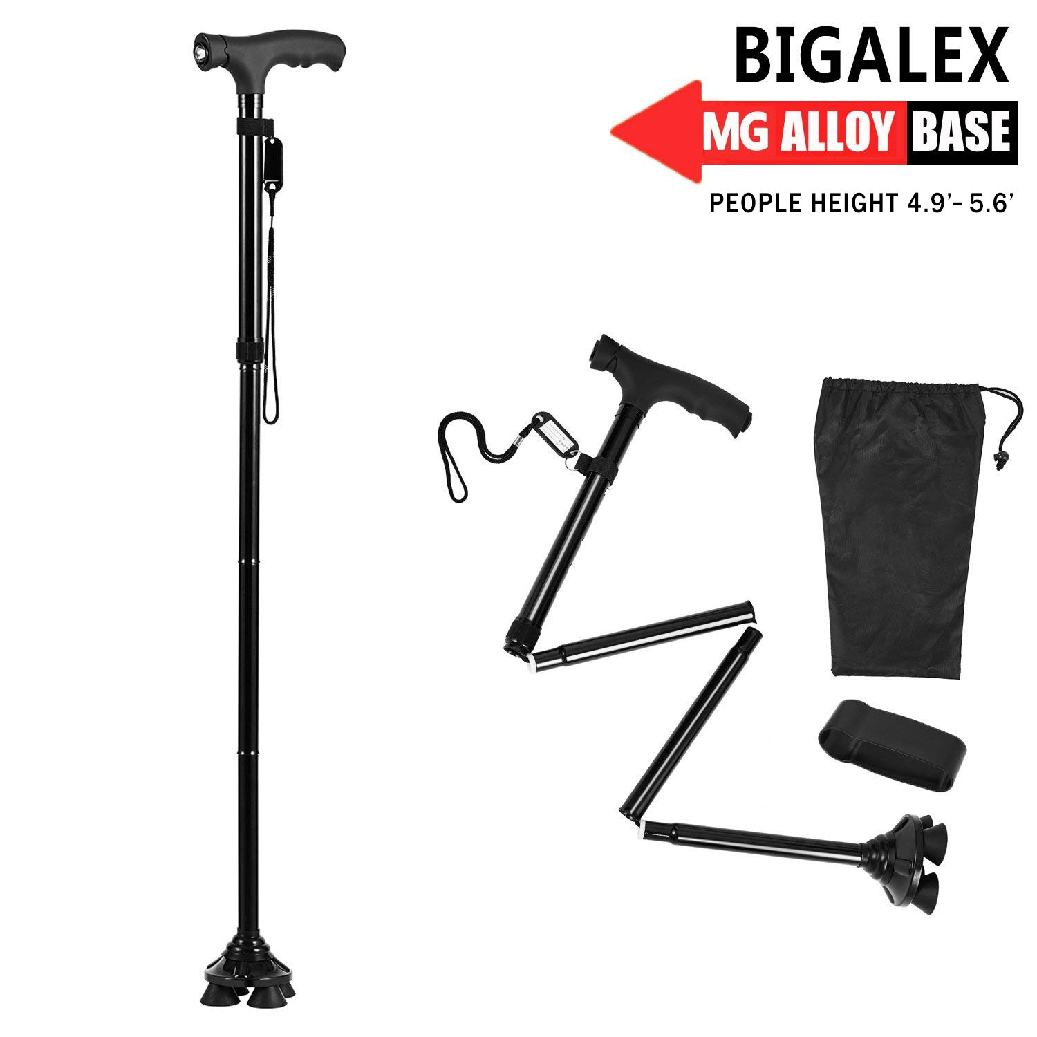 BigAlex Folding Walking Cane with LED Light,Pivoting Quad Base,Adjustable Walking Stick with Carrying Bag for Man/Woman