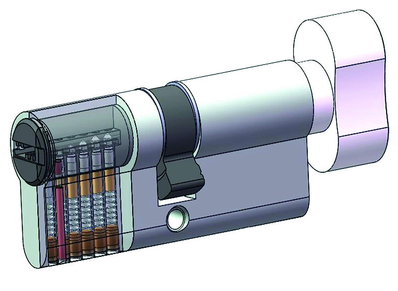 6 Goupilles 4 Cl/és Yale YC1000+ Cylindre de Serrure D/ébrayable 30x60 mm pour Porte Ext/érieure//Entr/ée Nickel/é