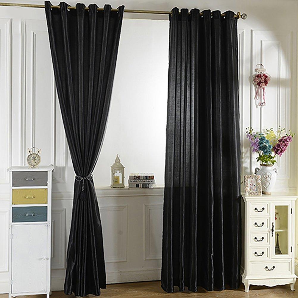 DISPLAY08punzonatura colore solido morbido finestra tenda, camera da letto Draperies–100x 250cm Beige