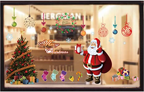 Merry Xmas Snowflake Balls Santa Claus Christmas Window Clings Decal Stickers Decorations