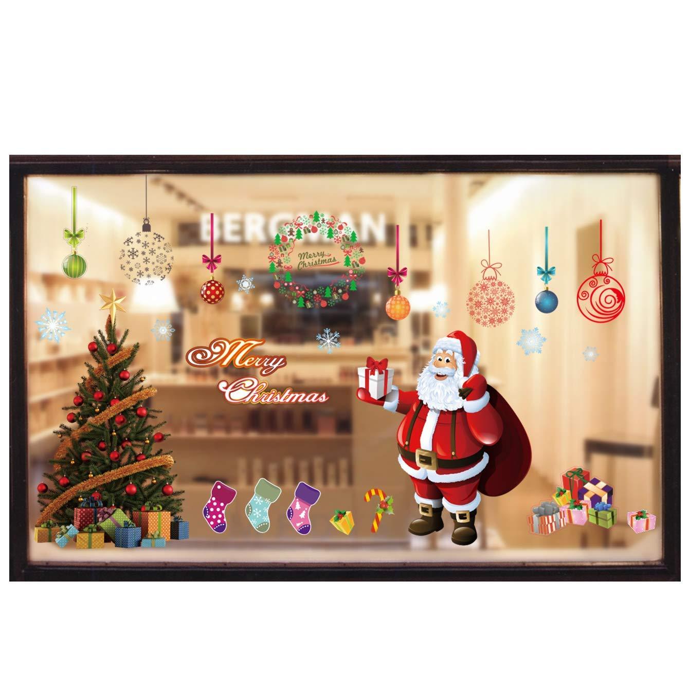 Miki&Co Pegatina Navidad Calcomanías Ventana - Santa Claus Arbol de Navidad - PVC Adhesivo para Ventanas