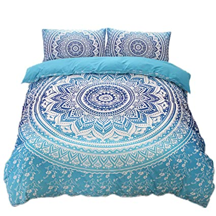 Amazon Com Bohemian Gypsy Quilt Cover Hippy Mandala Bedding Set For