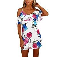 YOINS Damen Sommerkleider Minikleid Blumenmuster Ärmellos Schulterfrei Kleid Strandkleid Partykleid