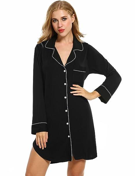 Avidlove mujer Pijama Vintage Larga Camiseta Dormir Top(Negro S)