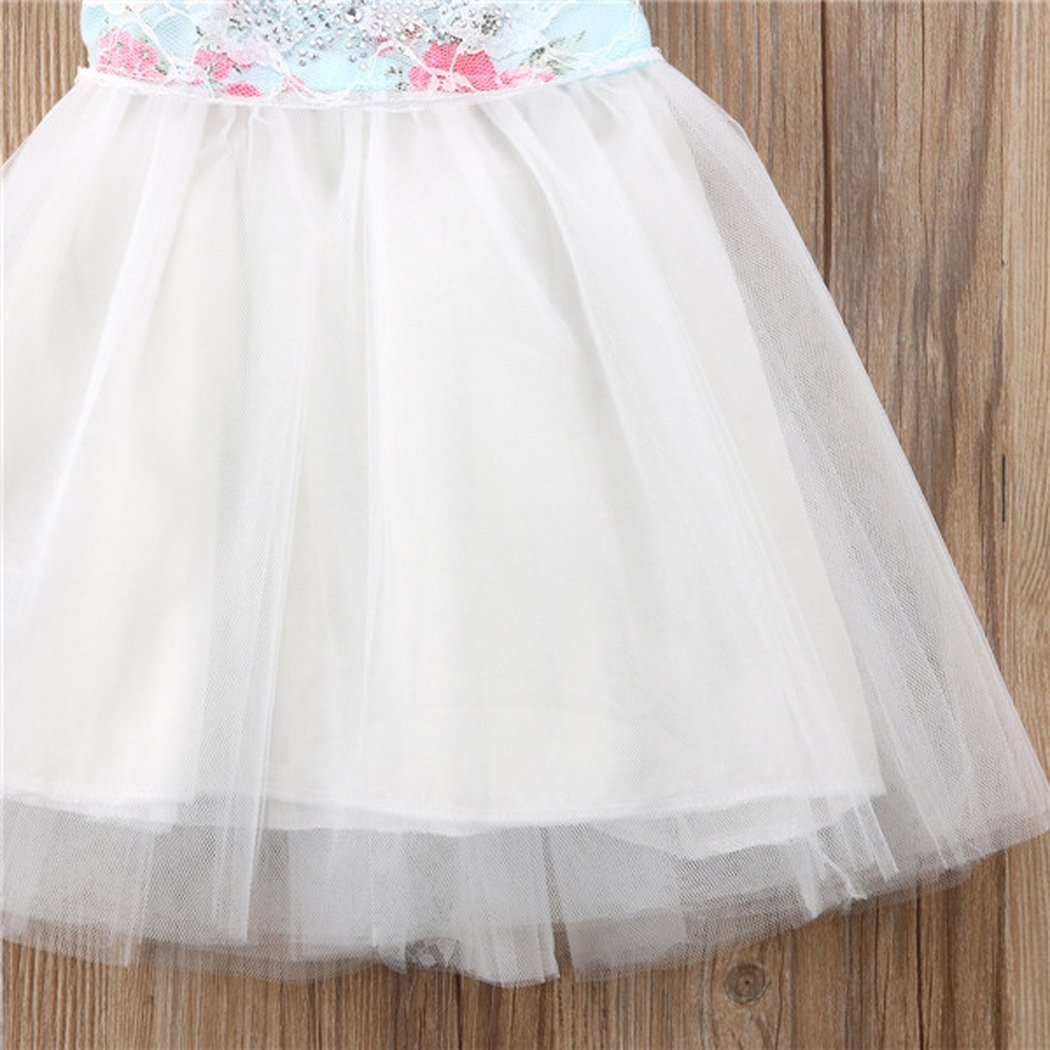 MIOIM Toddler Kids Baby Girls Floral Princess Dress Cap Sleeves Lace Tulle Tutu Sundress Outfits
