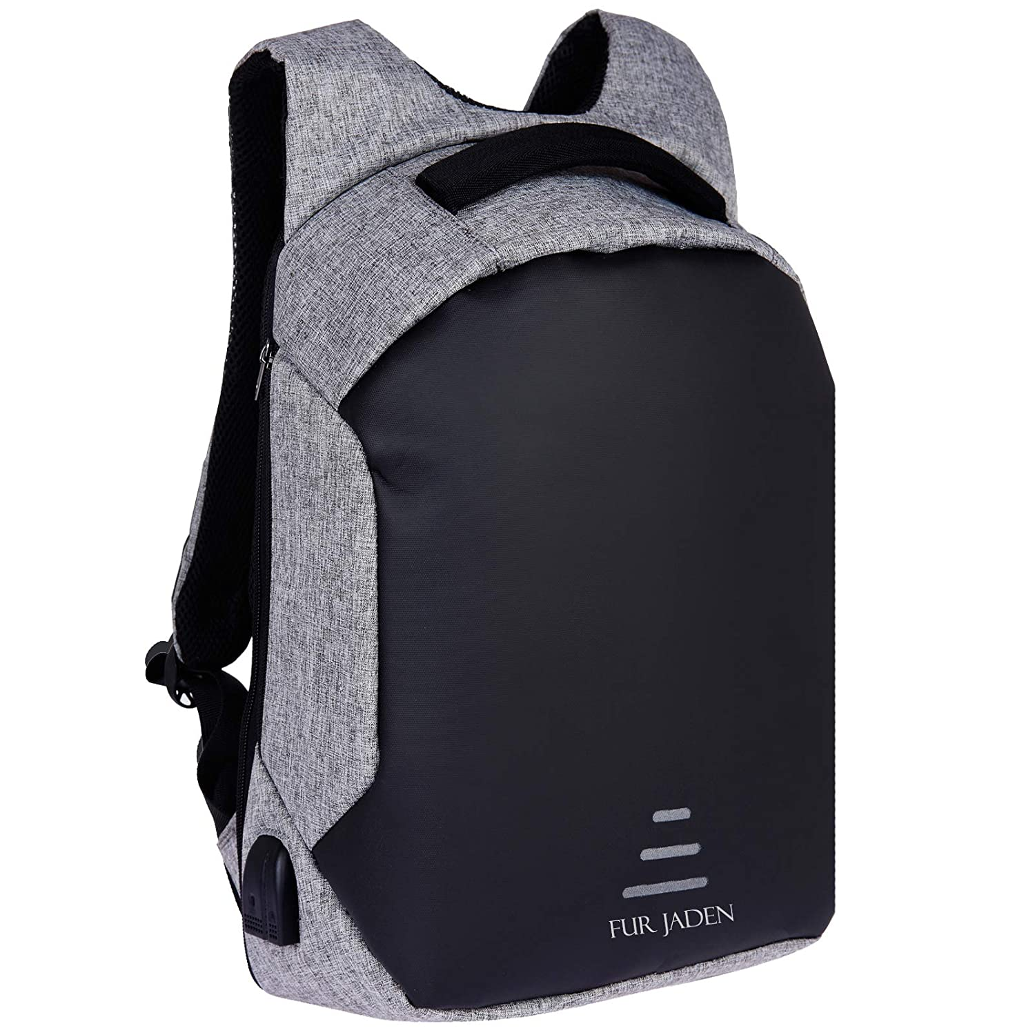 FUR JADEN Grey Anti Theft Casual Backpack with USB Charging