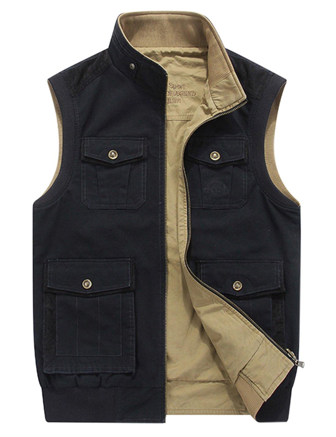 Gihuo Men's Reversible Cotton Leisure Outdoor Pockets Fish Photo Journalist Vest (XL, Black)