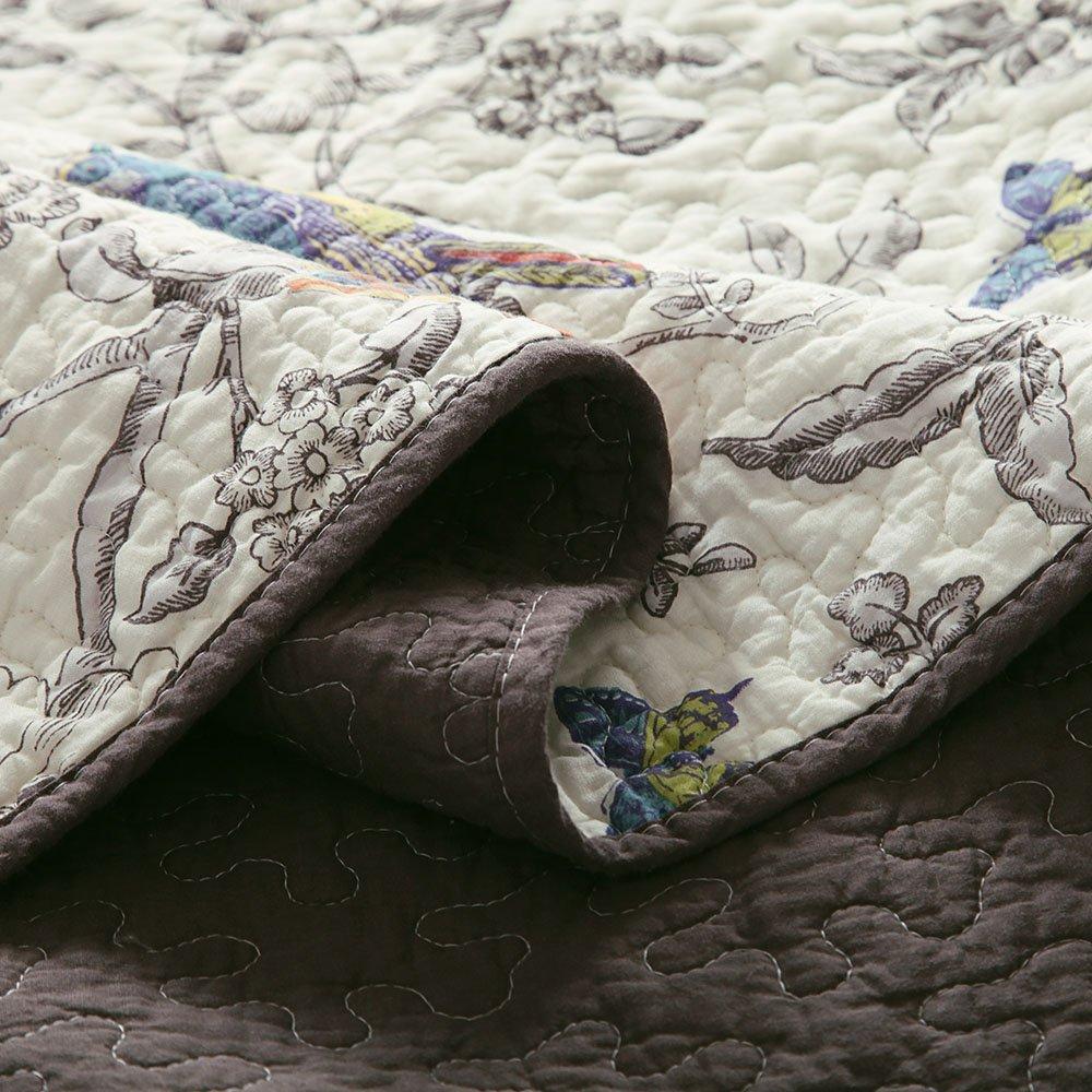 Vintage Floral Quilt Set King Cotton Bedspread Set Beige Brown Reversible Quilt Coverlet Set Luxury Birds Flower Butterfly Printed Quilt Set, Soft and Warm Autumn Winter Quilt Comforter Set by AMWAN (Image #3)