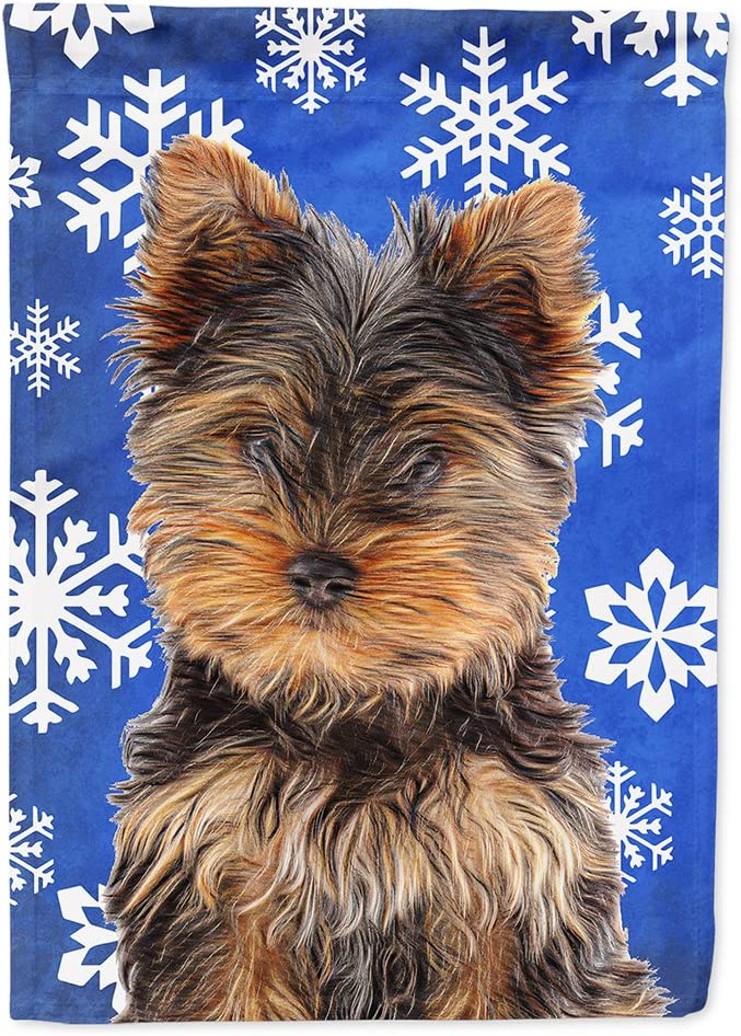 Caroline's Treasures KJ1181GF Winter Snowflakes Holiday Yorkie Puppy/Yorkshire Terrier Flag Garden Size, Small, Multicolor