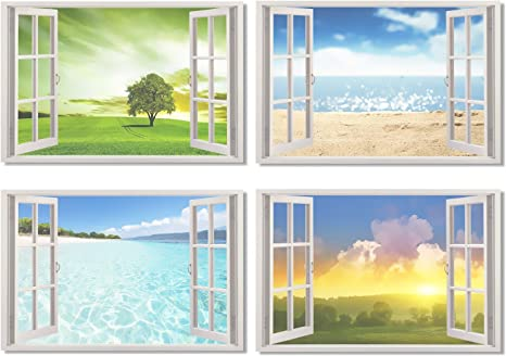 Amazon.com: 4pcs X Cartel ventana de vista Office habitación ...