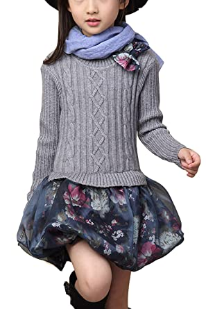 Luodemiss Girl S Winter Fake Two Piece Knitted Sweater Dress Embroidery Tutu Skirt Bottom Dresses