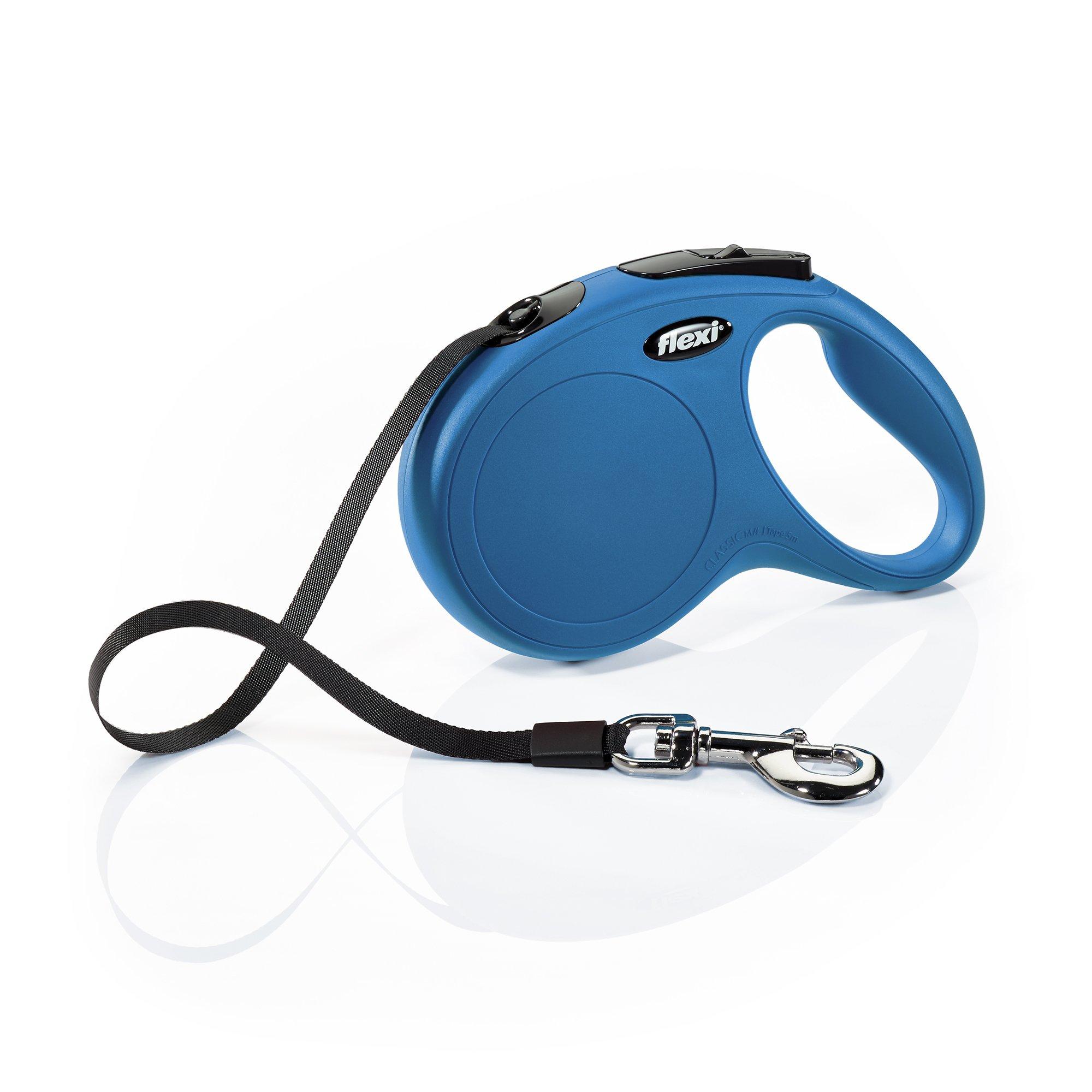 Flexi New Classic Retractable Dog Leash (Tape), 16 ft, Medium/Large, Blue