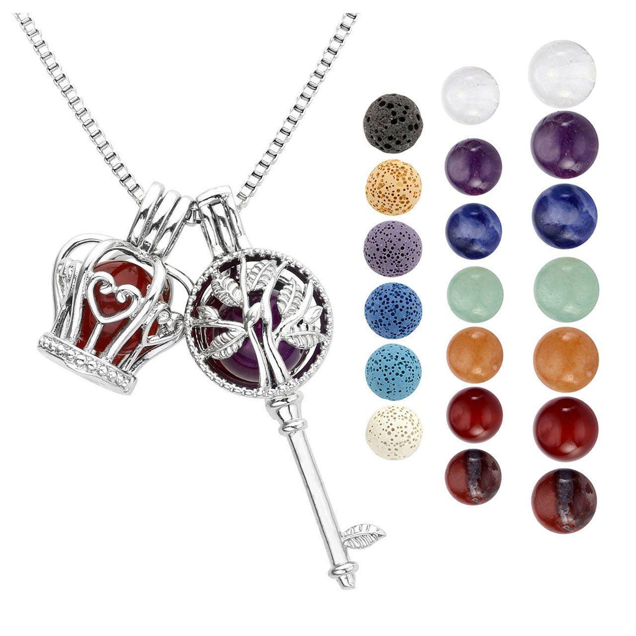 Top Plaza Fashion Aromatherapy Essential Oil Diffuser Necklace Healing Crystal Double Locket Pendant W/6 Dyed Lava Rock Stone + 7 Chakra Gemstones Beads(Tree Of Life Key+Crown)