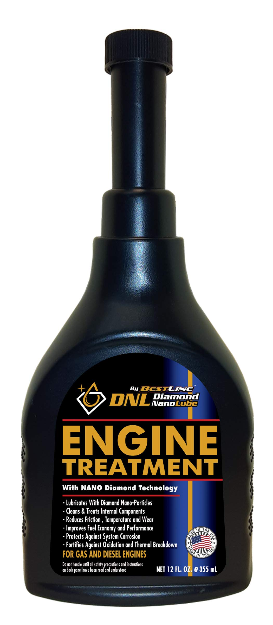 BestLine Premium Synthetic Engine Treatment with Nano Diamond Technology Extreme Pressure Lubricant for All Vehicles Gas or Diesel Cars Trucks – 12 oz