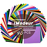 """Permanent Adhesive Backed Vinyl Sheets 12""""x12""""-40 Sheets Assorted Colors (Matte and Glossy) for Cricut, Silhouette Cameo, Craft Cutter Machine, Printers, Letters, Car Decal, Decor Sticker, Vinyl Paper"""