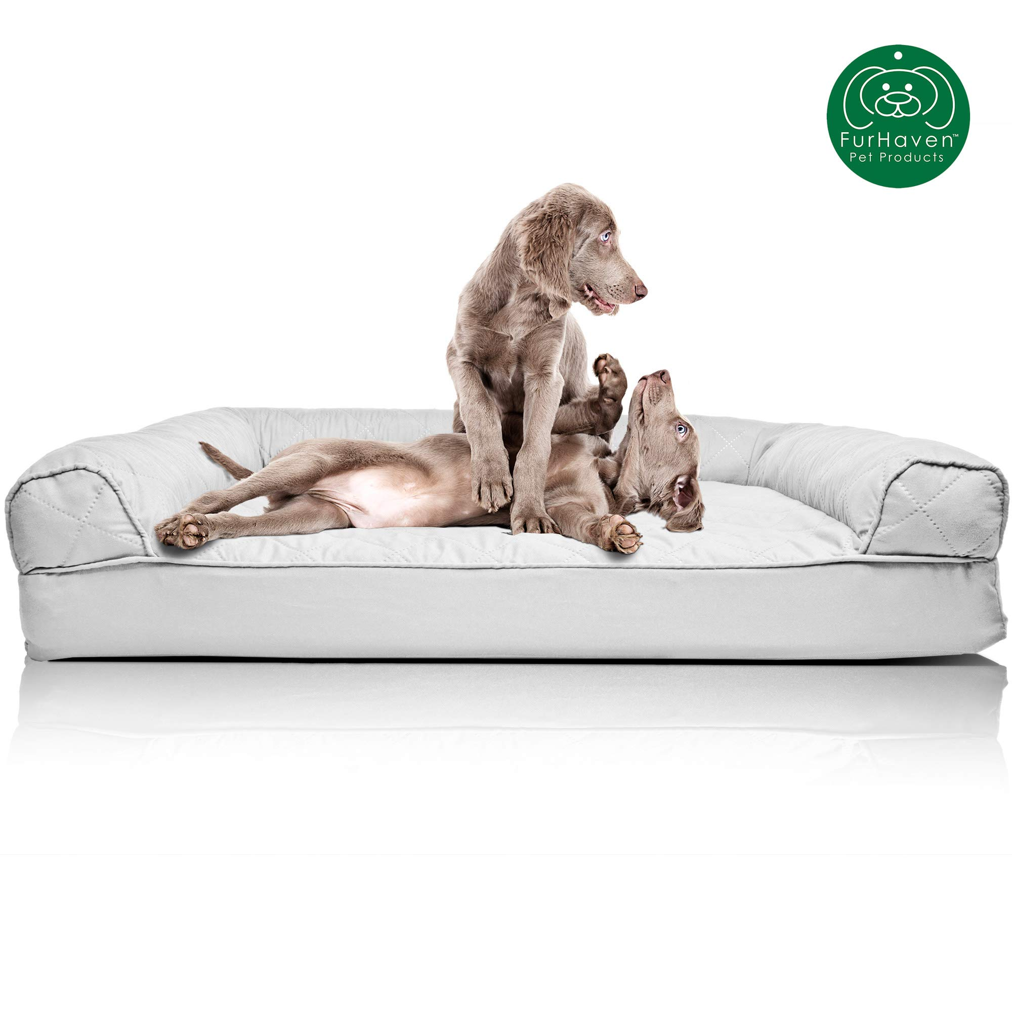 Furhaven Pet Dog Bed | Orthopedic Quilted Traditional Sofa-Style Living Room Couch Pet Bed w/ Removable Cover for Dogs & Cats, Silver Gray, Jumbo by Furhaven