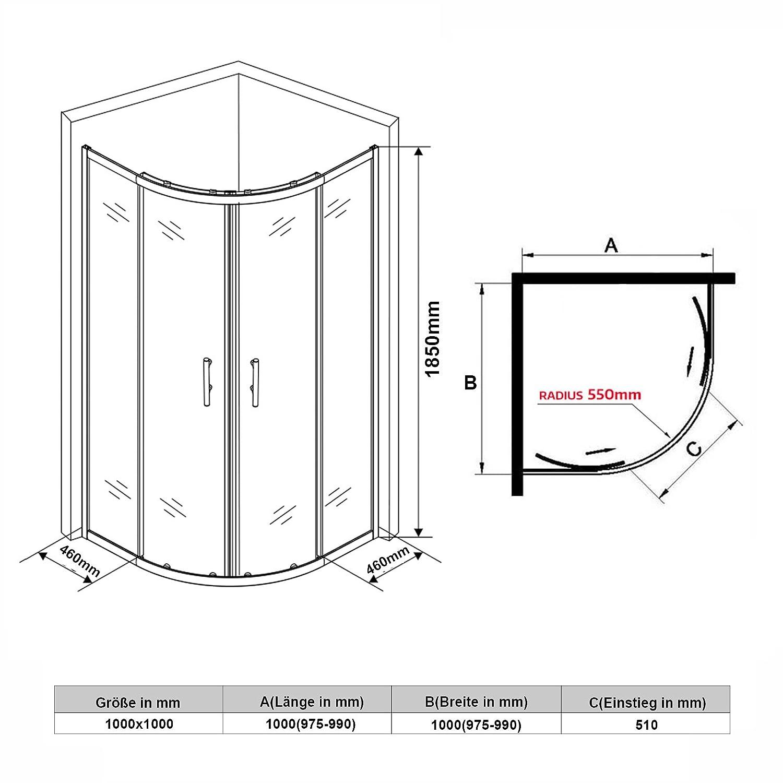 SONNI Viertelkreis Duschkabine Runddusche 100x100 eckeinstieg Duschabtrennung Schiebet/ür Viertelkreisdusche
