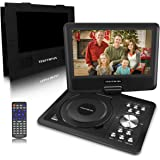 """9""""Portable DVD Player for Kids - TEKITSFUN 180°Swivel Screen 5 Hours Built-in Rechargeable Battery, SD/USB Port, Portable CD Player with Remote Control- Black (Valentine's Day Gifts)"""