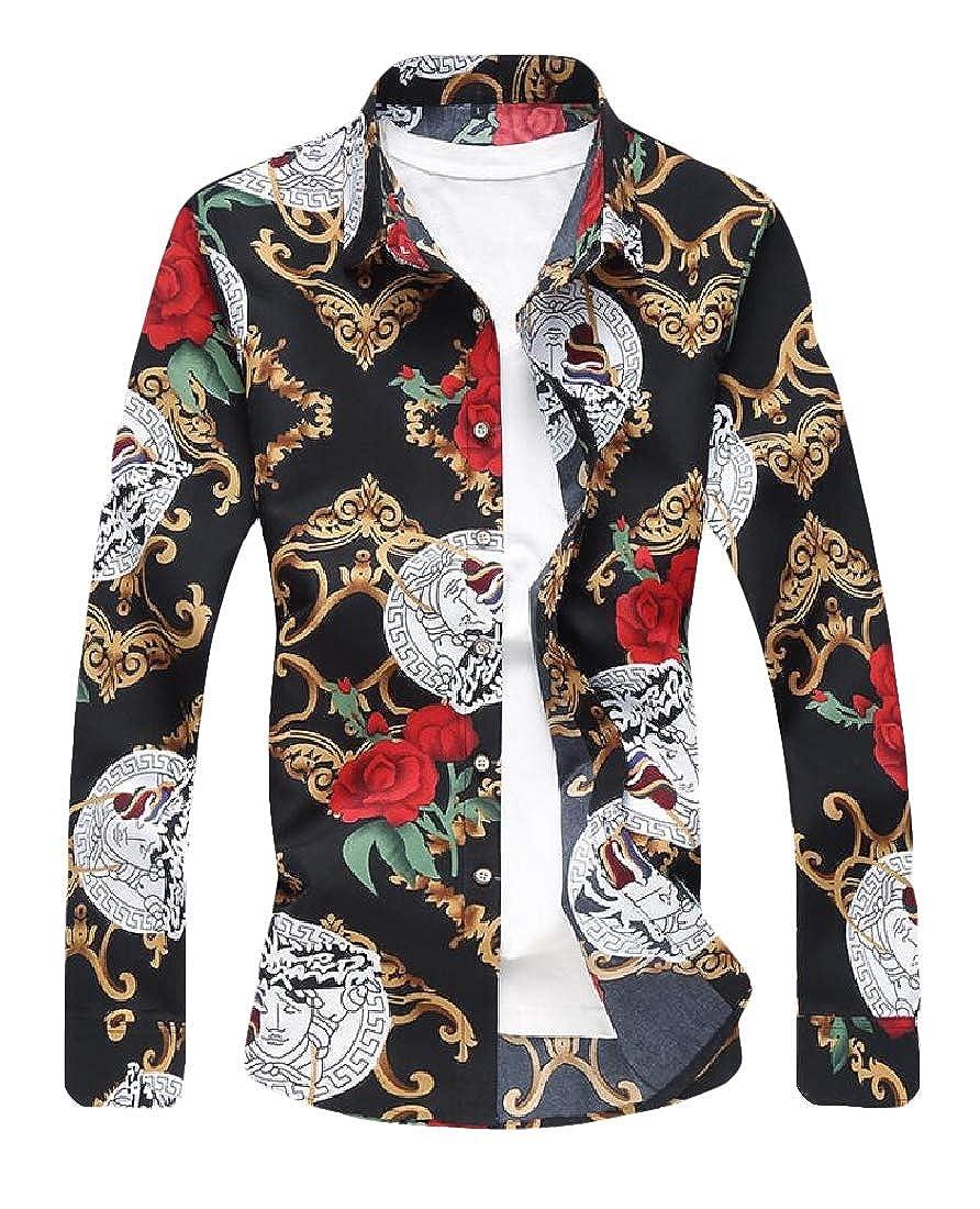 YONGM Mens Shirt Fashion Floral Print Long Sleeve Tops Button Down Shirt