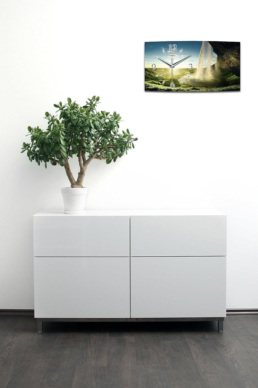 Wasserfall Landschaft XXL XXL XXL Designer leise Funk Wanduhr Funkuhr modernes Design  Made in Germany WA051FL (80x40cm) 24800e