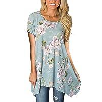 Womens Summer Short Sleeve Floral Print Irregular Hem Asymmetrical Loose Fit Tunic Tops