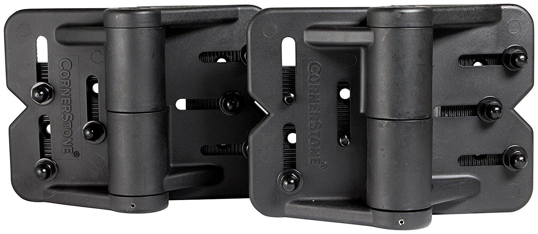 Nationwide Industries CornerStone Self-Closing Hinge, Adjustable Nylon - Self Drilling, Black