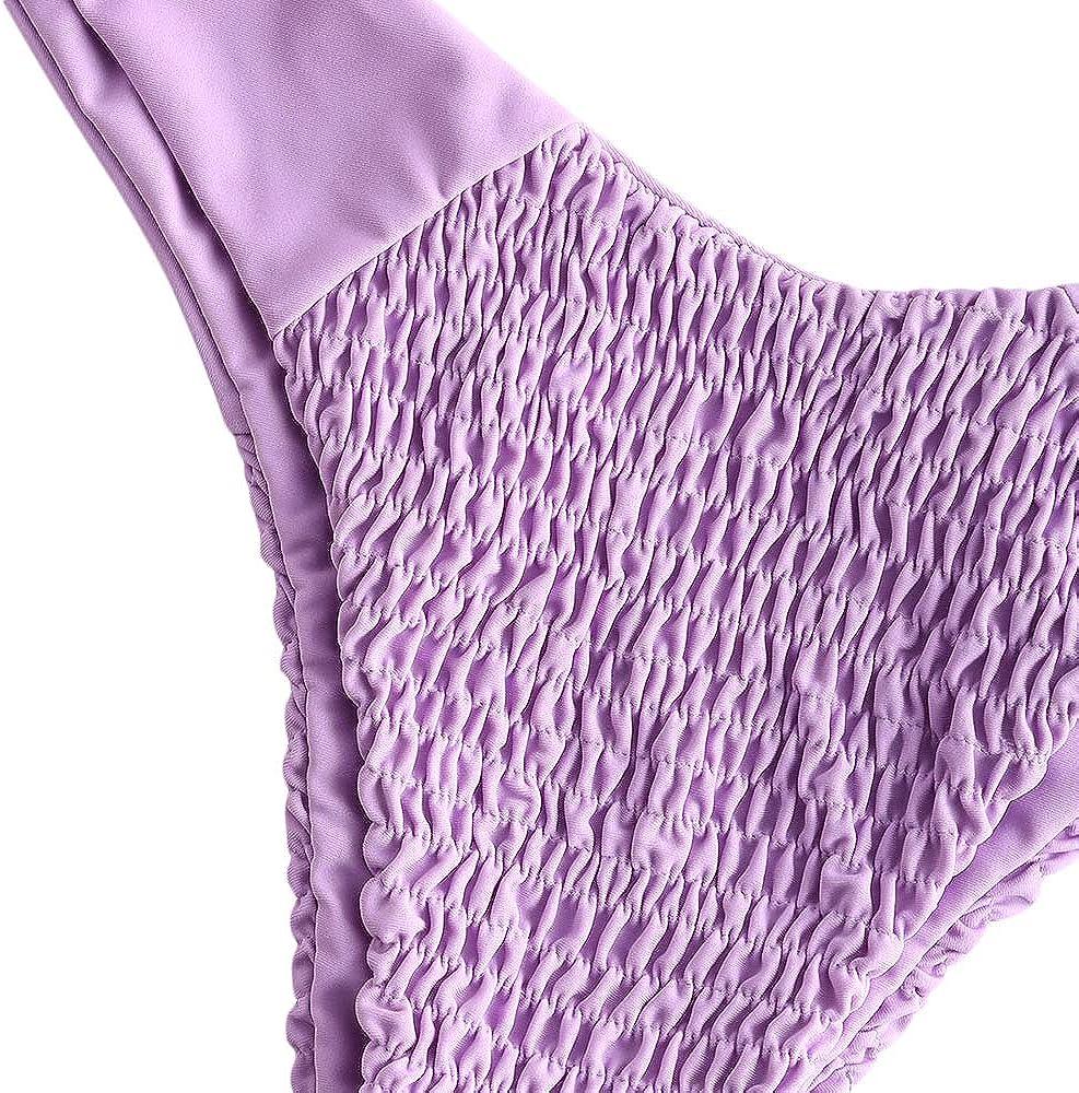 ZEZCLO Womens V Cut Shirred Tie Shoulder Underwire Two Piece Bikini Set