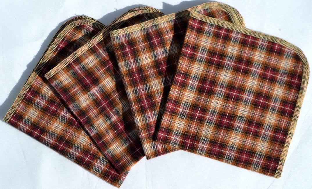 Gentleman's Brown & Red Checkered Casual Hankie Soft, Brushed Cotton Handkerchiefs 12x12 inch size, Set of Four