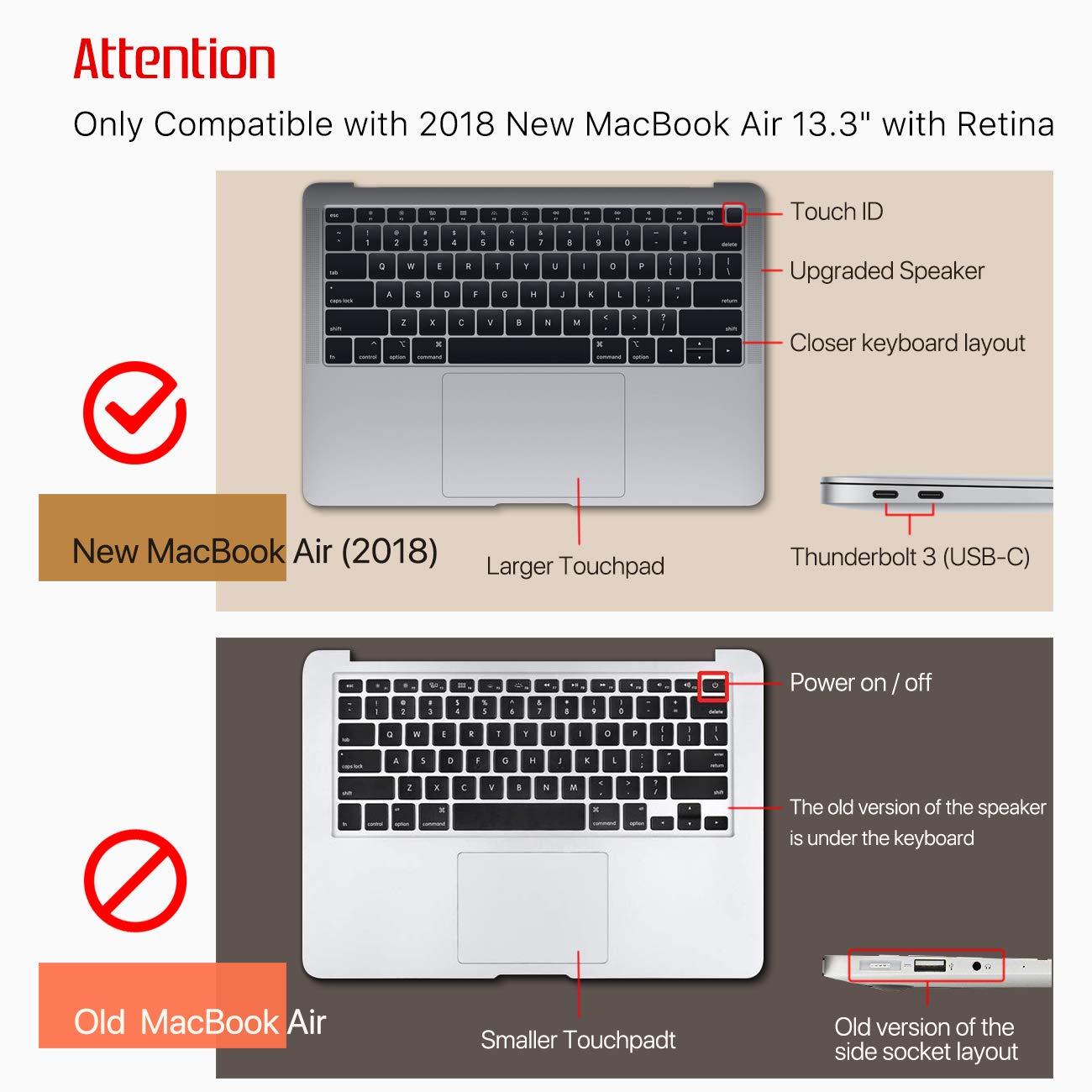 SLEO Funda para 2018 MacBook Air 13 Inch A1932 S/úper Delgada Carcasa Anti-Rasgu/ños Protectora de Pl/ástico Duro para Nuevo MacBook Air 13 Pulgadas Pantalla Retina con Touch ID Claro Transparente