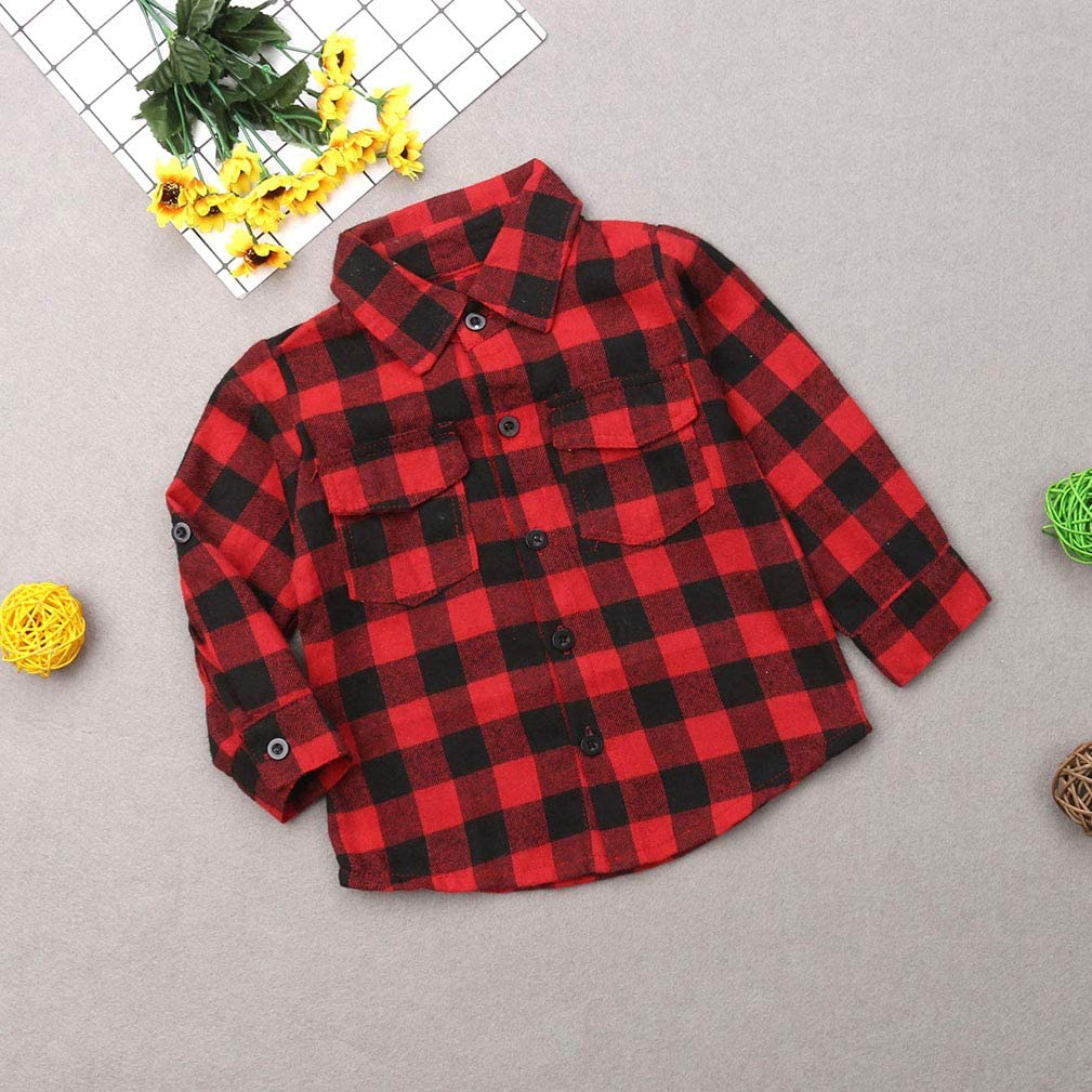 Mommy and Me Matching Letters Print Long Sleeve Button Down Red Plaid Flannel Shirt Outfits Clothes