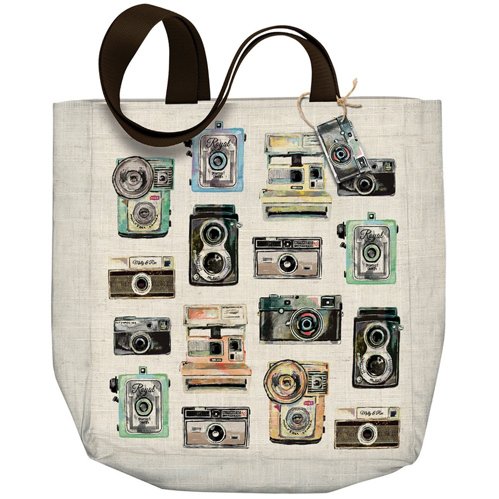 Largeヴィンテージカメラショッピングトートバッグby Molly & Rex B07CGHTC5R
