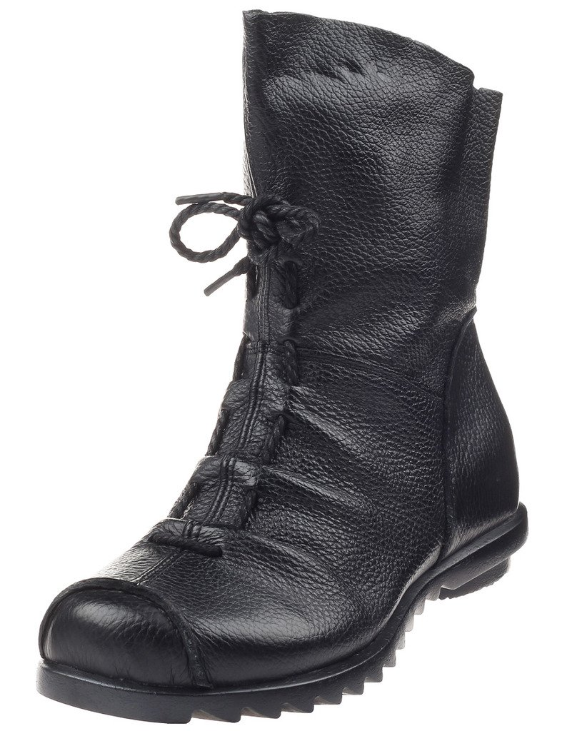 Mordenmiss Women's Cap Toe Boots Handmade Ankle Oxford Side Zipper Style 2 42 Black by Mordenmiss (Image #1)