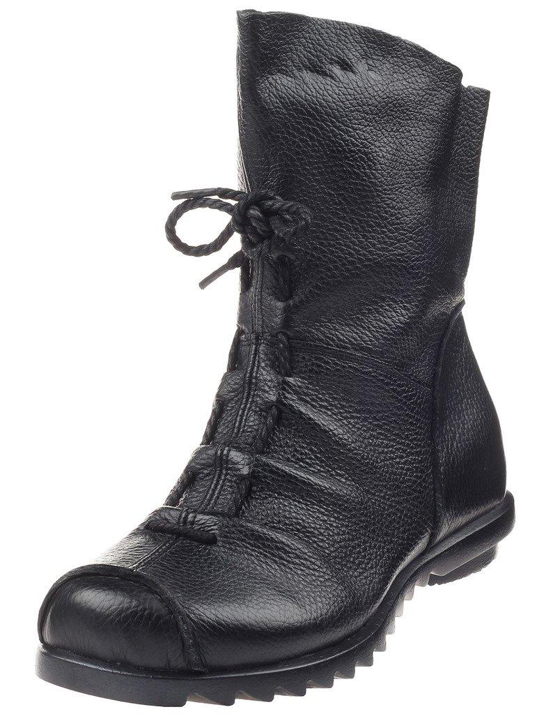 Mordenmiss Women's Cap Toe Boots Handmade Ankle Oxford Side Zipper Style 2 42 Black