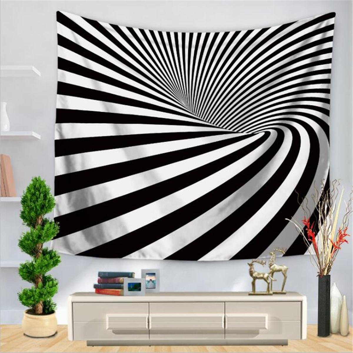 Creative Tapestry, Striped Abstract Fingerprint Print Pattern Tapestry, Wall Decoration, Outdoor Beach Towe , A , 200150