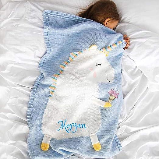 Personalized 3d Baby Blanket Cotton Knit Blanket Unicorn Custom Monogram Embroidered Gift Baby Shower Infant Warm Blankie Blanket Swaddle Blue Unicorn Home Kitchen