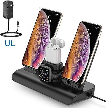 Soporte de Carga para Apple Watch, Estación de Carga Rápida Qi Inalámbrica 4 en 1 Soportes de Carga de para Phone X XS MAX 8 Plus y Teléfonos