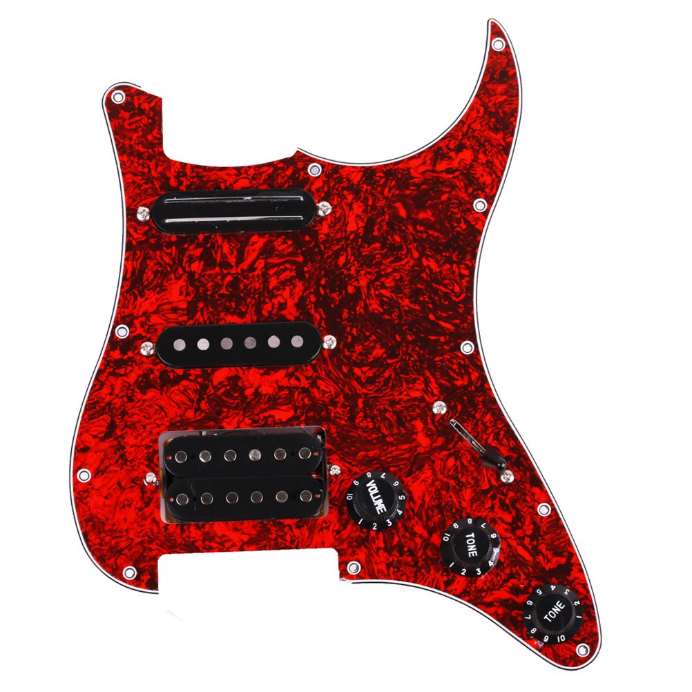 ROSENICE HSH Loaded Pickguard 3-ply 1V2T for Electric Guitar (Red) 1T233040ZKZOJ5272