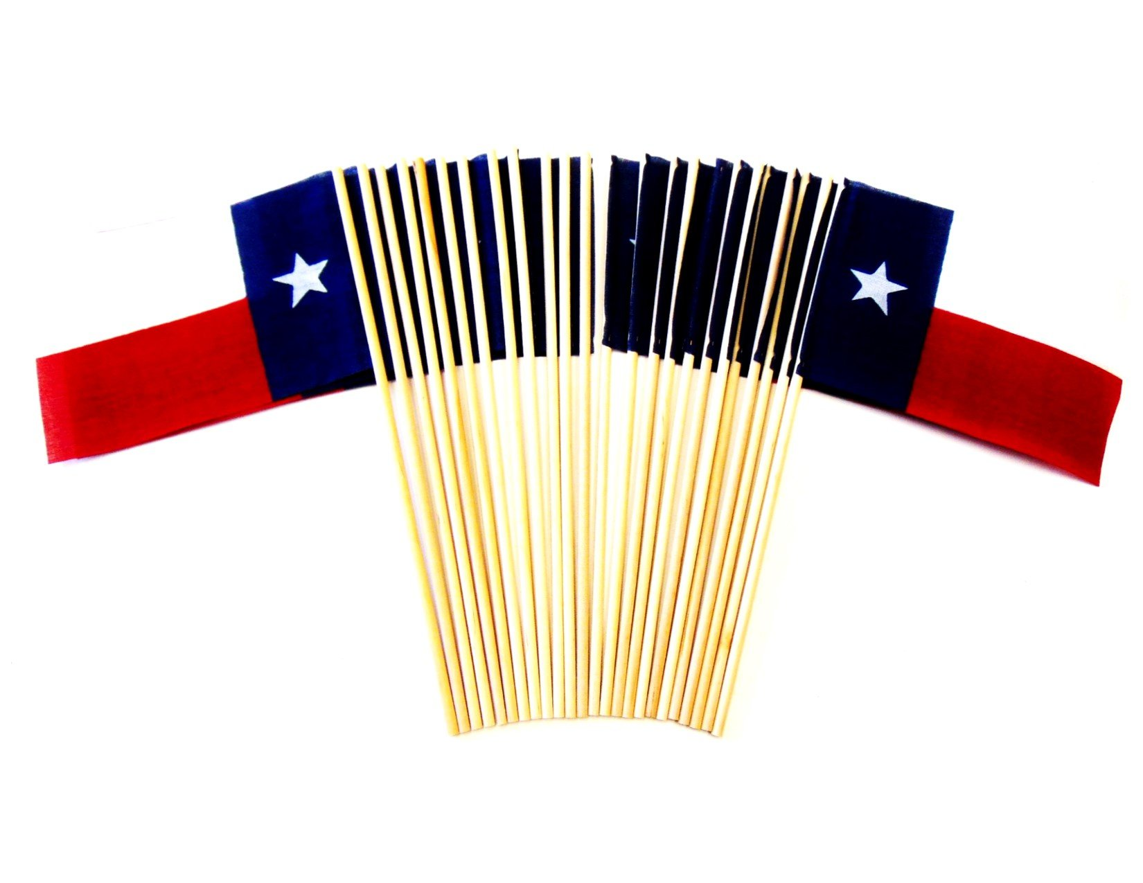 Made in The USA!! Pack of 24 Cotton 4''x6'' Texas Miniature Desk & Table Flags, 2 Dozen 4''x 6'' Texan State Small Mini Stick Flags