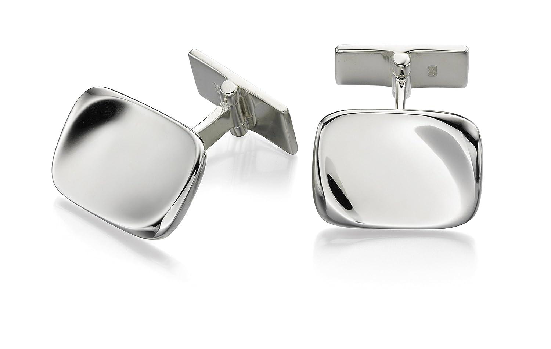 Fred Bennett Herren-Halskette Sterling-Silber für Men's Bio Manschettenknöpfe, rechteckig