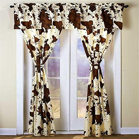 84 L Rodeo Cowhide Pattern 5 Pc Window Curtain Set Rod Pocket Western Ranch Look Home Kitchen
