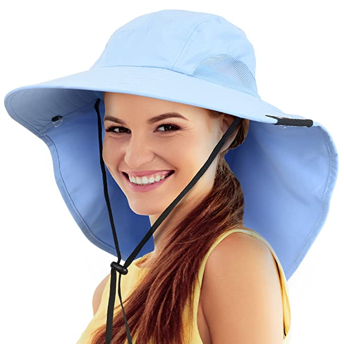 47278236fa6 Safari Sun Hats for Women Fishing Hiking Cap with Neck Flap Wide Brim Hat  Blue