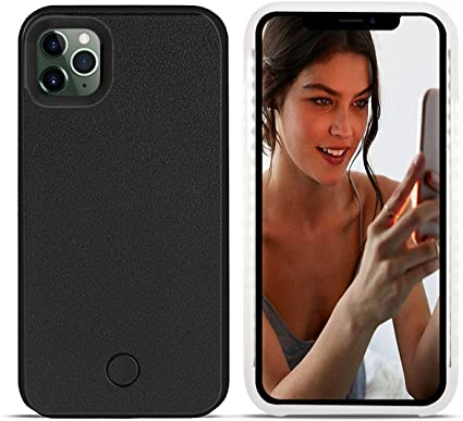 Wellerly iPhone Xs Case Rechargeable Dual Light Up Luminous Selfie Flashlight Case for iPhone X//XS 5.8inch Black iPhone X Case LED Illuminated Selfie Light Cell Phone Case Cover
