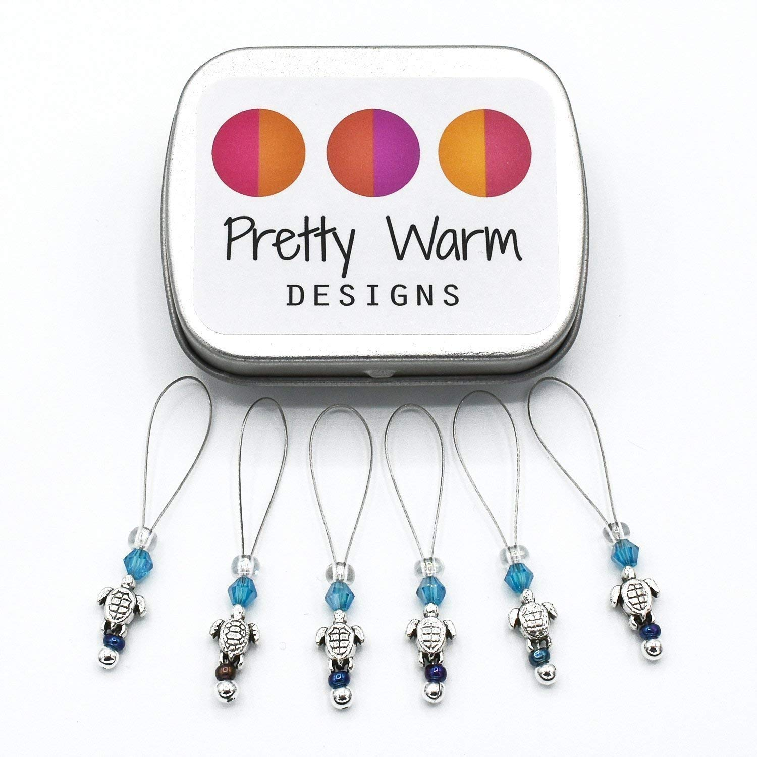 Baby Turtle Snag Free Stitch Markers Jewelry for Knitting (Set of 6 with Tin)